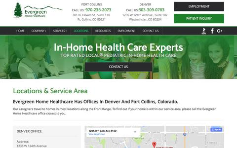 Screenshot of Locations Page evergreenhhc.com - In Home Care Denver | Home Healthcare Fort Collins | Physical Rehabilitation Colorado- Evergreen Home Healthcare - captured Aug. 25, 2017