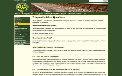 Screenshot of FAQ Page gwsr.com - GWR - Gloucestershire's mainline heritage railway - FAQs - captured Jan. 29, 2016