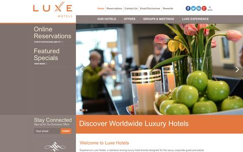 Screenshot of Home Page luxehotels.com - Luxury Hotels   Luxury Hotel Brand - captured Sept. 24, 2014
