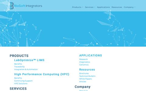 Screenshot of Site Map Page biosoftintegrators.com - BioSoft Integrators - captured Dec. 9, 2018