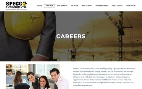 Screenshot of Jobs Page speccoflorida.com - Careers | Specco Environmental - captured Oct. 20, 2018