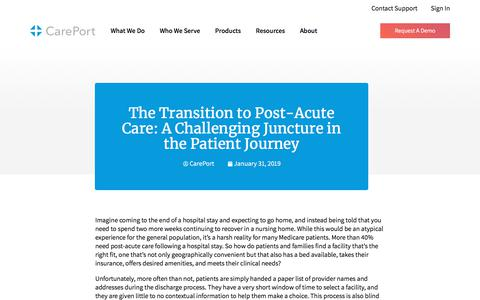 Screenshot of Blog careporthealth.com - The Transition to Post-Acute Care: A Challenging Juncture in the Patient Journey - Careport Health - captured Feb. 20, 2020