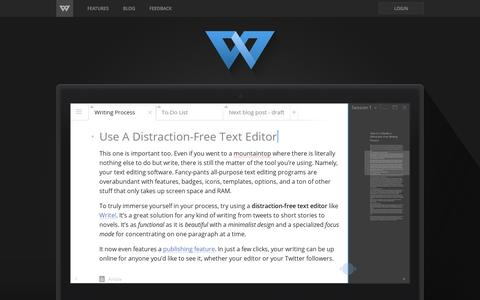 Screenshot of Home Page wri.tt - Write! - Distraction-Free Text Editor for Writing Productivity - captured May 20, 2016