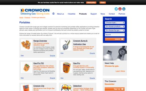 Screenshot of Products Page crowcon.com - Crowcon Detection Instruments, portables gas detectors, Monitoring, Sensors - captured Oct. 10, 2014