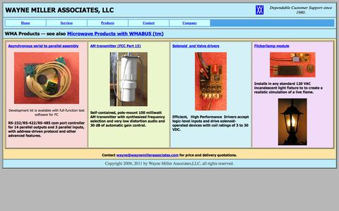 Screenshot of Products Page waynemillerassociates.com - WMAproducts - captured Oct. 7, 2014