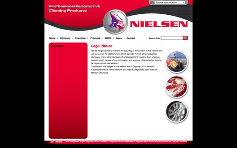 Screenshot of Terms Page nielsenchemicals.com - Legal Notice | Nielsen Chemicals | Automotive Car Cleaning Products, Valeting Care Products & Janitorial, Workshop, Interior and Retail Range of Products - captured Sept. 30, 2014