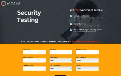 Screenshot of Landing Page applause.com - Security Testing Whitepaper - Applause: 360° App Quality - captured Oct. 27, 2014
