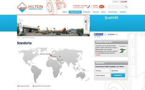 Screenshot of Locations Page hilton-kommunal.de - Zweiwege Fahrzeuge - Spezialfahrzeuge - Hilton Kommunal > Unternehmen > Standorte - captured Oct. 2, 2014