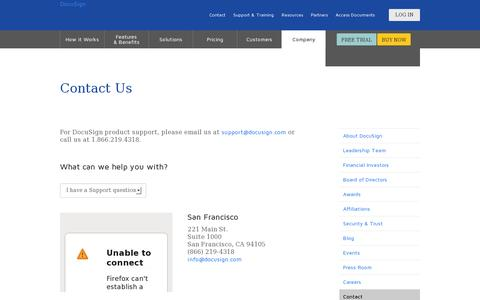 Screenshot of Contact Page docusign.com - Contact Us | DocuSign - captured July 20, 2014