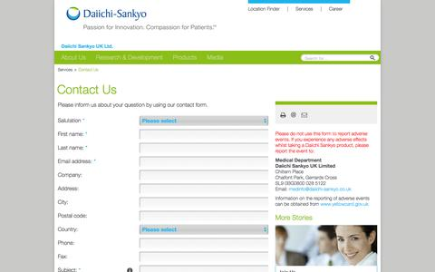 Screenshot of Contact Page daiichi-sankyo.co.uk - Contact Us: Daiichi Sankyo UK - captured Feb. 9, 2016