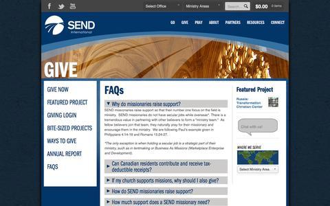 Screenshot of FAQ Page send.org - FAQs   SEND International - captured Sept. 25, 2014