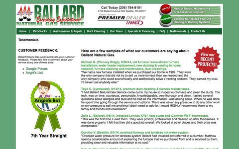 Screenshot of Testimonials Page ballardnaturalgas.com - Customer Testimonials   Air Conditioning   Heating   HVAC   Seattle, WA 98107   Ballard Natural Gas - captured Oct. 5, 2014