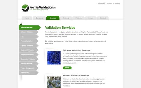 Screenshot of Services Page premiervalidation.com - Validation services for the Lifesciences - validation services for all of validation projects - captured Sept. 30, 2014