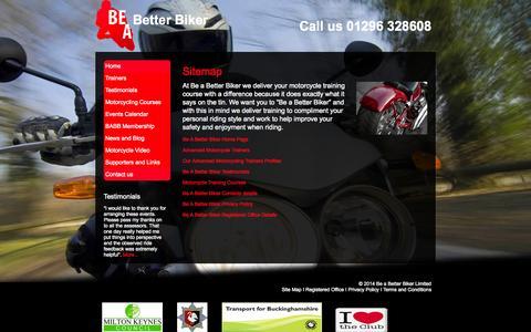 Screenshot of Site Map Page beabetterbiker.co.uk - Motorcycle Safety Training - Bikesafe - Be a Better Biker - captured Oct. 5, 2014