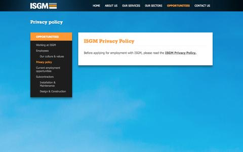 Screenshot of Privacy Page isgm.com.au - Privacy policy - ISGM - captured Oct. 4, 2014