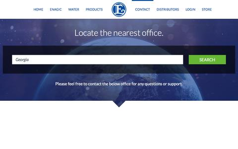 Screenshot of Contact Page Locations Page enagic.com - Contact » Locate the nearest office. - captured July 9, 2017