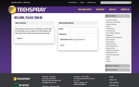 Screenshot of Login Page techspray.com - Login - captured Jan. 25, 2018