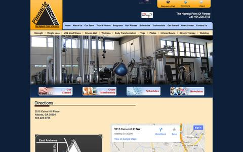 Screenshot of Maps & Directions Page pinnaclefitnessgym.com - Pinnacle Fitness, Buckhead/Atlanta – Premier Personal Training & Golf Fitness Center With The Only Kinesis Wall In Atlanta - captured Sept. 29, 2014