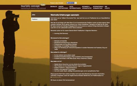 Screenshot of Jobs Page tcme.com - TCME touristic concept: Praktikum - captured Oct. 9, 2014