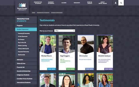 Screenshot of Testimonials Page royalroads.ca - Testimonials | Royal Roads University | Victoria, BC - captured Sept. 25, 2014