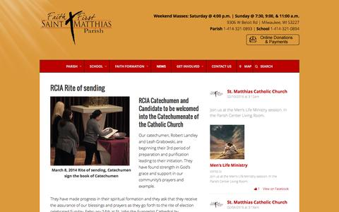 Screenshot of Press Page stmatthias-milw.org - News – St. Matthias Catholic Parish - captured Feb. 16, 2016
