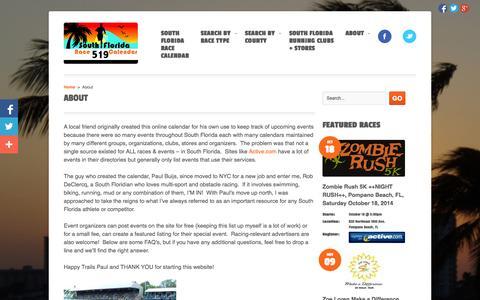 Screenshot of About Page sflracecalendar.com - About | South Florida Race Calendar - captured Oct. 6, 2014