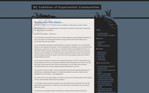 Screenshot of Press Page wordpress.com - News | BC Coalition of Experiential Communities - captured Sept. 12, 2014
