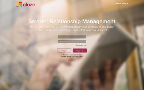 Screenshot of Signup Page cloze.com - Cloze - Relationship Management, Inbox, and Contacts in One App - captured Oct. 25, 2015
