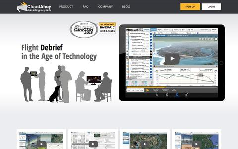 Screenshot of Home Page cloudahoy.com - CloudAhoy | Flight Debrief in the Age of Technology - captured July 19, 2018