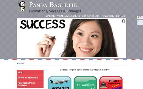 Screenshot of Home Page Menu Page pandabaguette.com - Nous vous proposons des formations professionnelles de tous niveaux, des cours de chinois, d'anglais, de français, d'instruments de musique à Paris - captured Oct. 1, 2014
