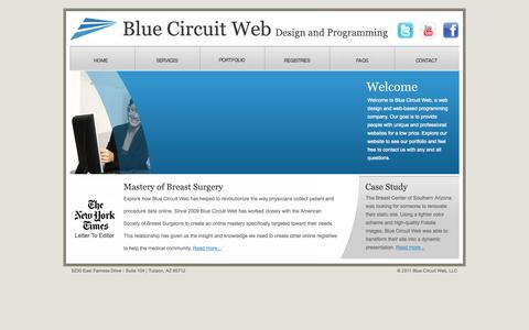 Screenshot of Home Page bluecircuitweb.com - Blue Circuit Web | Design and Programming - captured Oct. 5, 2014