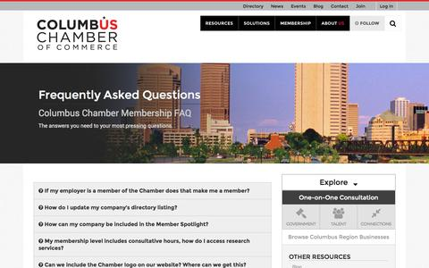 Screenshot of FAQ Page columbus.org - Frequently Asked Questions   Columbus Chamber of Commerce - captured Oct. 23, 2014