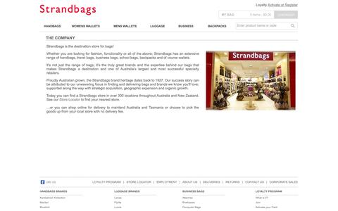 Screenshot of About Page strandbags.com.au - Strandbags | Shop Online, Handbags, Womens Wallets,Mens Wallets,Travel, Luggage,Suitcases, Backpacks and Satchels - captured Oct. 31, 2014