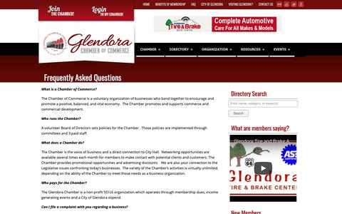 Screenshot of FAQ Page glendora-chamber.org - Glendora Chamber of Commerce | Promote... Connect... Grow... - captured Sept. 28, 2018