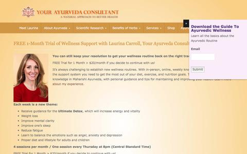 Screenshot of Signup Page yourayurvedaconsultant.com - FREE 1-Month Trial of Wellness Support with Laurina Carroll, Your Ayurveda Consultant - Your Ayurveda Consultant - captured Oct. 23, 2017