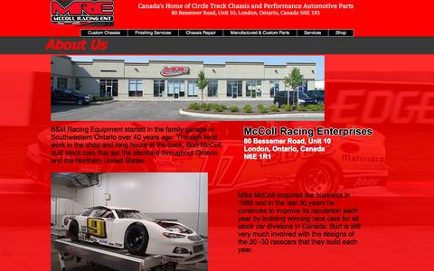 Screenshot of About Page mccollracing.ca - McColl Racing Chassis - Canadian Performance Parts | About Us - captured Jan. 7, 2018