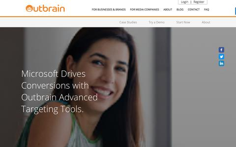Screenshot of Case Studies Page outbrain.com - Microsoft Drives Conversions With Advanced Targeting Tools | Outbrain - captured April 19, 2018