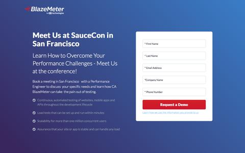Screenshot of Landing Page blazemeter.com - Request a Demo - SauceCon 2017 - captured Sept. 19, 2018