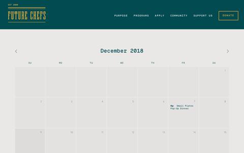 Screenshot of Press Page futurechefs.net - Calendar — Future Chefs - captured Dec. 10, 2018