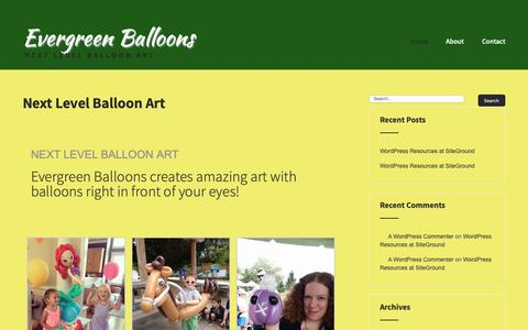 Screenshot of Home Page evergreenballoons.com - Next Level Balloon Art - Evergreen Balloons - captured Dec. 7, 2018