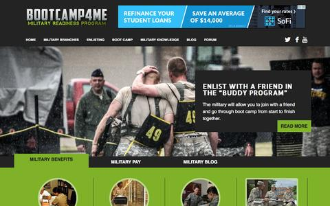 Screenshot of Home Page bootcamp4me.com - Boot Camp 4 Me - Learn How To Join The Army, Navy, Air Force and Marine Corps - captured Oct. 10, 2015