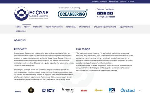 Screenshot of About Page ecosse-subsea.com - Subsea Equipment | Trenching | Pipe-Lay Technology - captured Sept. 27, 2018