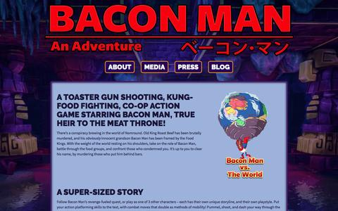Screenshot of About Page baconmangame.com - About | Bacon Man: An Adventure | About | Skymap Games - captured March 6, 2016