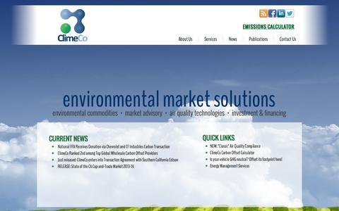 Screenshot of Home Page climeco.com - ClimeCo - captured Oct. 2, 2014