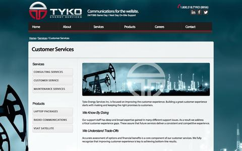 Screenshot of Support Page tyko.ca - Tyko Energy Services | Customer Service - captured Oct. 6, 2014