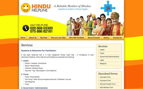 Screenshot of Services Page Terms Page hinduhelpline.com - Services - captured March 8, 2016
