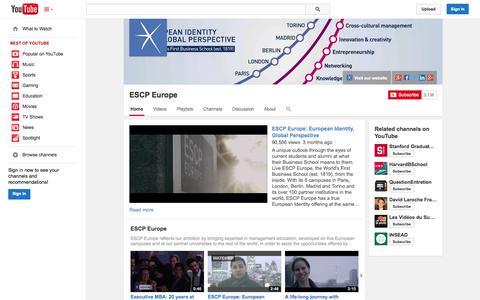 Screenshot of YouTube Page youtube.com - ESCP Europe  - YouTube - captured Oct. 22, 2014