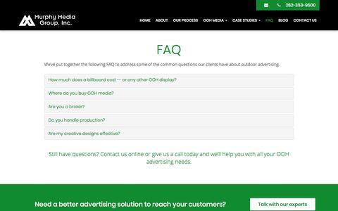 Screenshot of FAQ Page murphymediagroup.com - FAQ - West Bend, Menomonee Falls, Mequon   Murphy Media Group, Inc. - captured Oct. 26, 2017