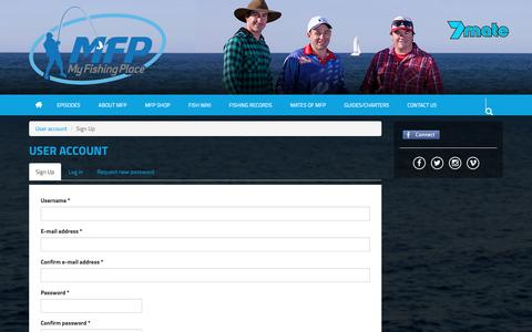 Screenshot of Signup Page myfishingplace.com.au - User account | My Fishing Place - captured Oct. 20, 2018