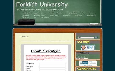 Screenshot of Contact Page forkliftuniversity.com - Contact Us - captured Nov. 25, 2016